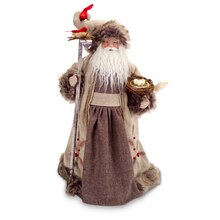 Santa with Birds Nest Figure