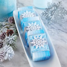 Blue Ombre Soap Wrapped in Snowflake Ribbon, medium