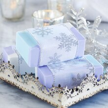 Geometric Loaf Soap Wrapped in Snowflake Ribbon, medium