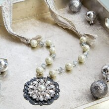 Winter Pearl and Lace Necklace, medium