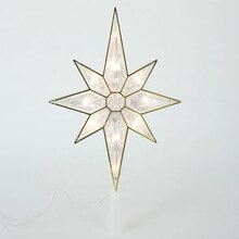 "11"" Lighted Faceted Bethlehem Star Christmas Tree Topper, Clear Lights"