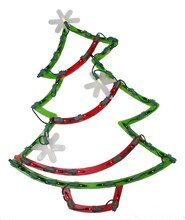 Lighted Christmas Tree with Star Ornaments Window Silhouette Decoration