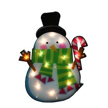 Lighted Shimmering Snowman with Candy Cane Christmas Window Silhouette Decoration