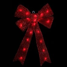 Lighted Sparkling Red Tinsel Bow Christmas Decoration