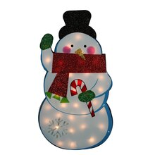 Standing Tinsel Snowman Lighted Christmas Yard Art Decoration
