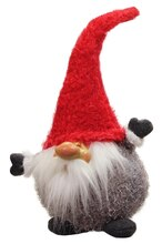 """15"""" Frayed Gray & Red Chubby Smiling Gnome Plush Table Top Christmas Figure"""