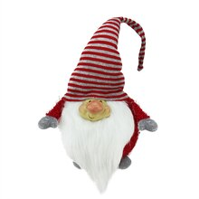 Bearded Red and Gray Chubby Smiling Gnome with Stripe Hat Plush Table Top Christmas Figure