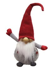 """14"""" Gray & Red Portly Smiling Man Gnome Plush Table Top Christmas Figure"""