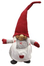 """14"""" Gray & Red Portly Smiling Woman Gnome Plush Table Top Christmas Figure"""