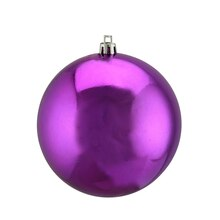 "4"" Shatterproof Shiny Christmas Ball Ornament, Plum Purple"