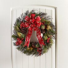 Velvet Ribbon Embellished Pre-Made Wreath, medium