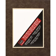 "Studio Décor Pre-Cut Double Mat, 16"" x 20"" with 11"" x 14"" Opening, Dark Brown"
