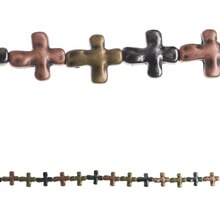 Bead Gallery Cross-Shaped Metal Glass Beads, Multicolored