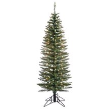 7 Ft. Pre-Lit Ozark Pine Pencil Artificial Christmas Tree, Clear Lights