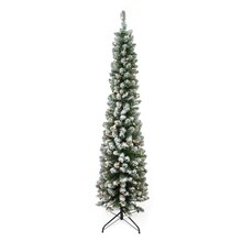6 Ft. Pre-Lit Flocked Traditional Pine Pencil Artificial Christmas Tree, Clear Lights