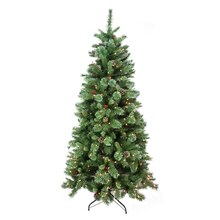 6.5 Ft. Pre-Lit Mixed Pine & Iridescent Glitter Artificial Christmas Tree, Clear Lights