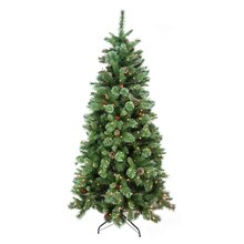 7.5 Ft. Pre-Lit Multicolor Glittered Mixed Pine Artificial Christmas Tree, Clear Lights