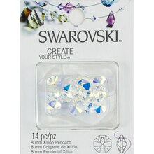 Swarovski Create Your Style Xilion Crystal Pendants, Aurora Borealis 8mm