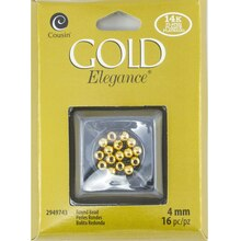 Cousin Gold Elegance Round Beads, 4 mm