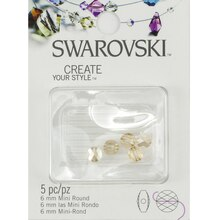 Swarovski Create Your Style Mini Round Crystal Beads, Golden Shadow 6mm