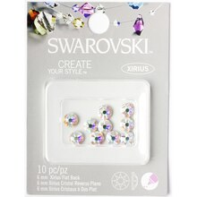 Swarovski Create Your Style Xirius Flat Back Crystals, Aurora Borealis 6mm Pack