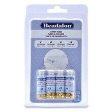 Beadalon Crimp Tubes in Assorted Sizes, Gold