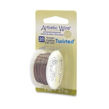 Beadalon Twisted Artistic Wire, Gun Metal, 20 Gauge