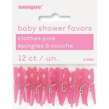 Plastic Pink Clothespin Baby Shower Favors, 12ct