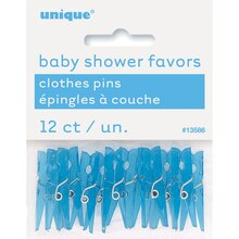 Plastic Blue Clothespin Baby Shower Favors, 12ct