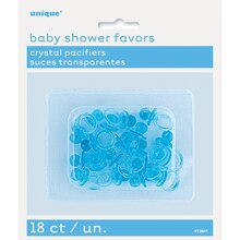 "1"" Plastic Blue Pacifier Baby Shower Favors, 18ct"