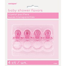 "2"" Plastic Pink Pacifier Baby Shower Favors, 4ct"