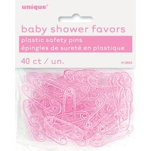 Plastic Pink Safety Pin Baby Shower Favors, 40ct