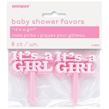 Plastic Pink It's a Girl Baby Shower Cupcake Toppers, 8ct