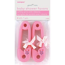 Plastic Pink Safety Pin with Ribbon Baby Shower Favors, 4ct