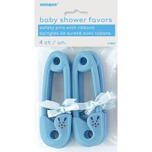 Plastic Blue Safety Pin with Ribbon Baby Shower Favors, 4ct