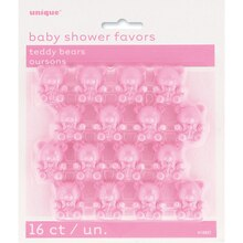 Plastic Pink Teddy Bear Baby Shower Favors, 16ct