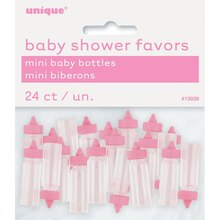 Plastic Pink Baby Bottle Baby Shower Favors, 24ct
