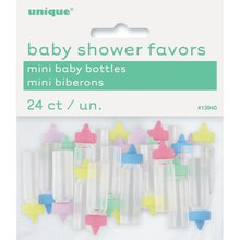 Plastic Baby Bottle Gender Neutral Baby Shower Favors, Assorted 24ct