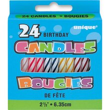 Six Assorted Color Birthday Candles, 24ct