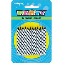 Striped Black Birthday Candles, 24ct