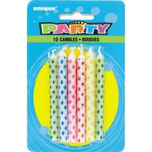 Assorted Color Diamond Dot Birthday Candles, 10ct