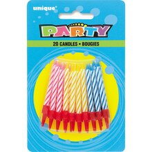 Assorted Spiral Birthday Candles in Holders, 20ct