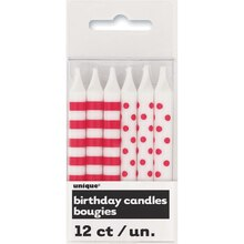 Red Polka Dot and Striped Birthday Candles, 12ct