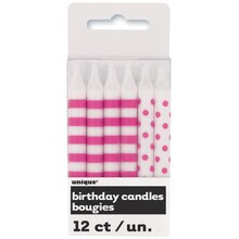Hot Pink Polka Dots & Striped Birthday Candles, 12ct