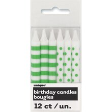 Lime Green Polka Dot and Striped Birthday Candles, 12ct