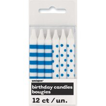 Royal Blue Polka Dot and Striped Birthday Candles, 12ct