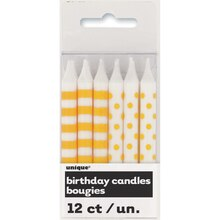 Yellow Polka Dot and Striped Birthday Candles, 12ct