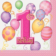 Pink Balloons 1st Birthday Beverage Napkins, 16ct