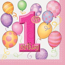 Pink Balloons 1st Birthday Luncheon Napkins, 16ct