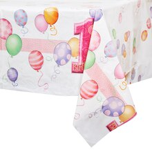 Plastic Pink Balloons 1st Birthday Table Cover